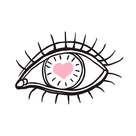 Eye with heart.   Vector