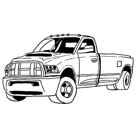 truck sketch theme on off white background. Vector