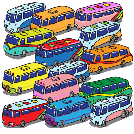 Various Buses. Vector Illustration Vector