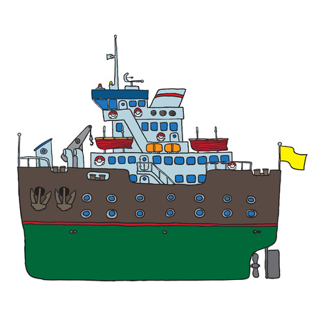 ship colored sketch Vector