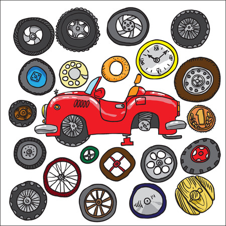alloy wheel: car and wheels. Game Illustration