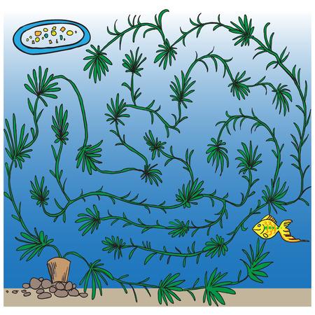 Little fishes maze for kids. aquarium Vector