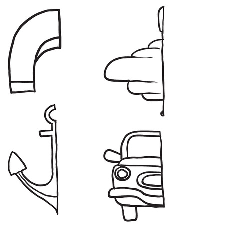 didactic: Complete the Symmetrical Drawing. Car, anchor, magnet, whirligig