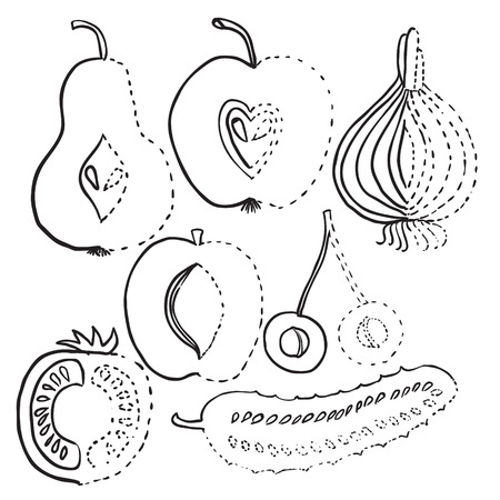 Image drawing of vegetables, fruits Vector