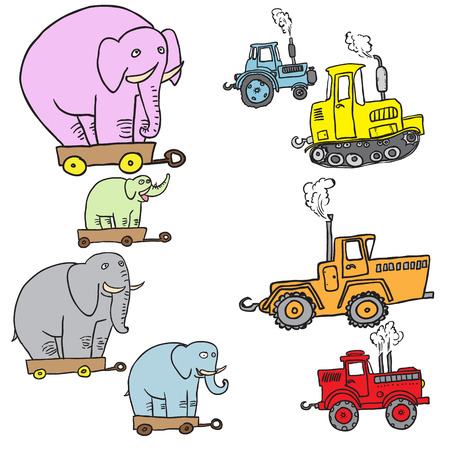 Tractors and elephants.  Vector