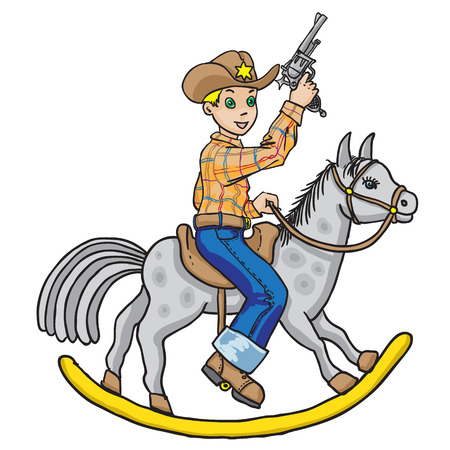 Little cowboy on horse Vector
