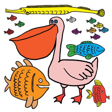 Pelican and fish. Vector Vector