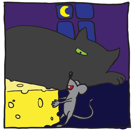 Cat, mouse and cheese. Vector illustration Vector