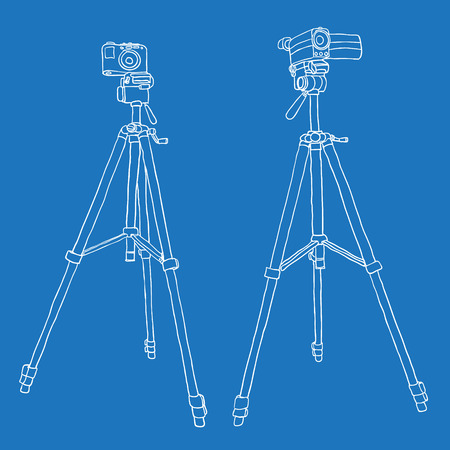 camcorder and photo camera on a tripod. vector background Vector