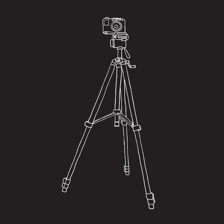 model: photo camera on the tripod. vector background