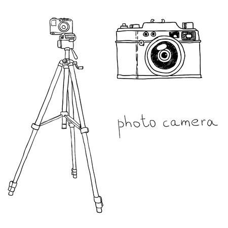 photo camera on the tripod. vector illustration