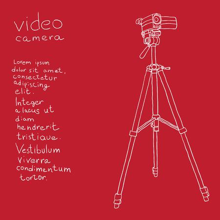 camcorder: camcorder on a tripod. background Illustration