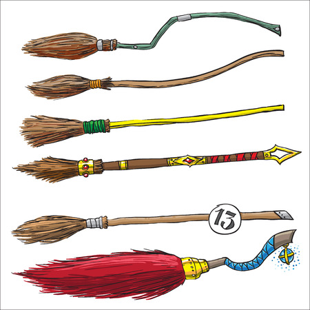 set of witch brooms for halloween.  Vector