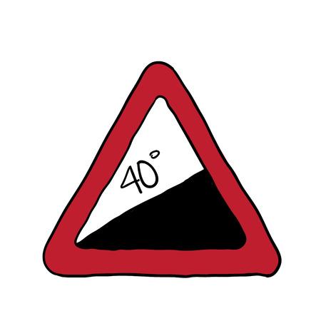steep: road sign a steep climb. vector illustration