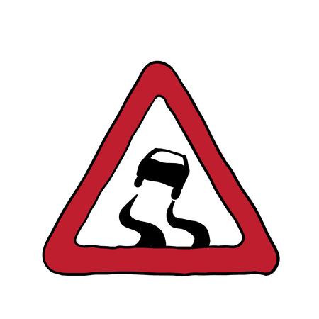 road sign slippery road. vector illustration Vector