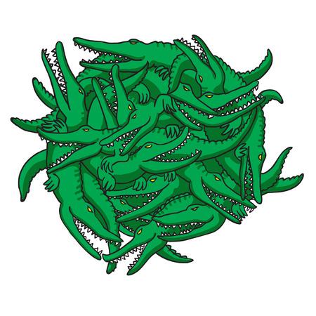 nile river: crocodiles. vector illustration