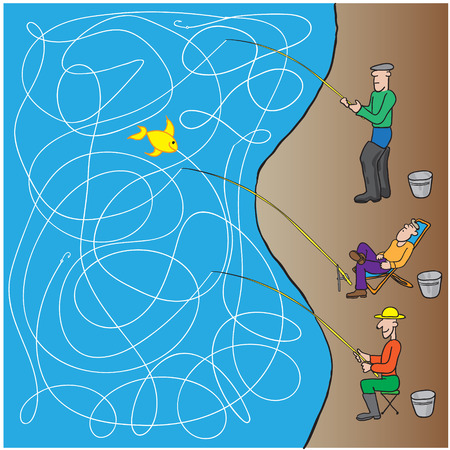 game fishermen. vector illustration