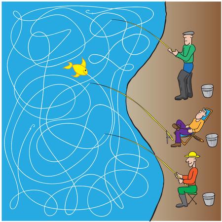 freshwater sailor: game fishermen. vector illustration