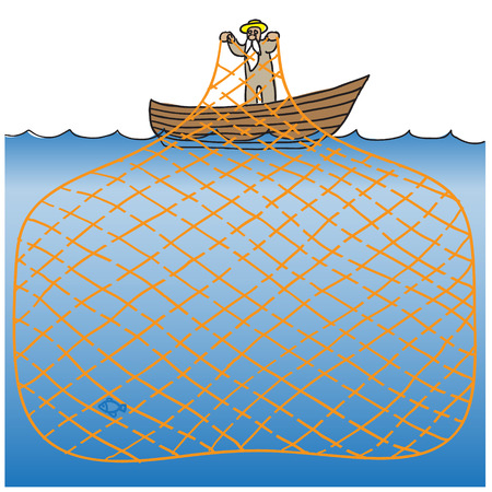 maze game: Maze game fisherman. vector illustration