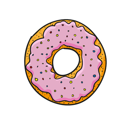 frosted: Pink frosted sprinkled donut. vector illustration