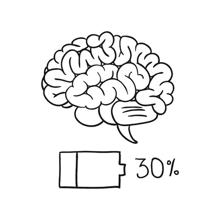 half full: charging bar of brain. vector illustration