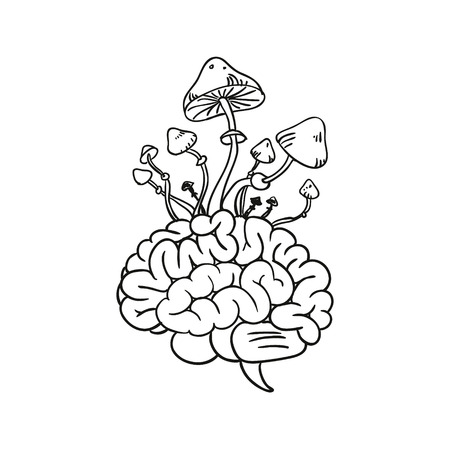 brain illustration: Brain and mushrooms illustration