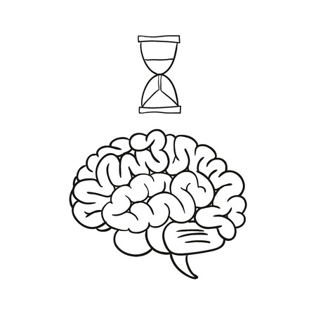 mind set: doodle hourglass brain illustration