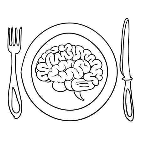 brain illustration: brain on a plate illustration