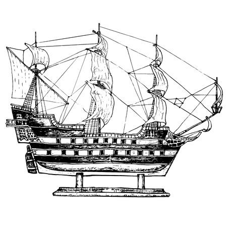galley: Sailing ship model. Hand drawn illustranion Illustration