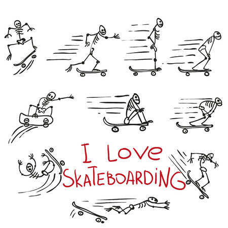 poise: Skeletons riding on skateboards. Hand drawing vector doodles