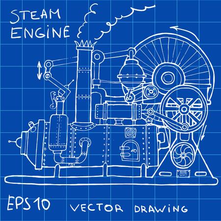 steam engine: Drawing of steam engine. Hand drawn vintage illustration.Vector Illustration