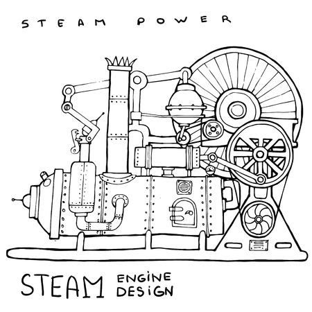 Old steam engine. Hand drawn vintage illustration.Vector Illustration