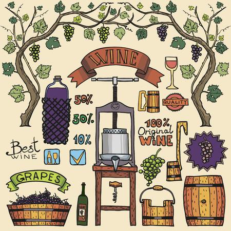 手のイラストをスケッチ。ワインの要素を持つワインのプロセス。