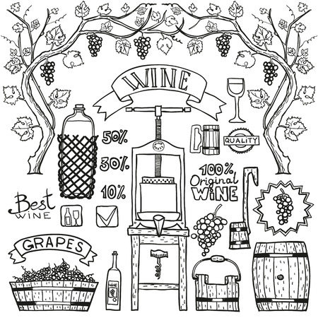 bottling: Hand sketched illustrations. Wine process with winemaking elements.
