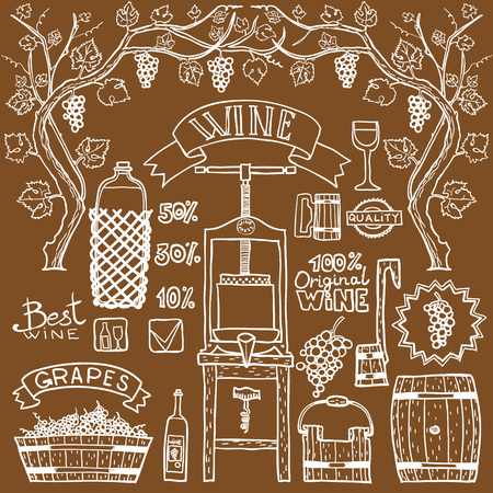 wine growing: Hand sketched illustrations. Wine process with winemaking elements.