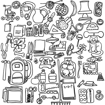 exercise book: Freehand drawing school items on a sheet of exercise book. Back to School. Vector illustration. Set Illustration