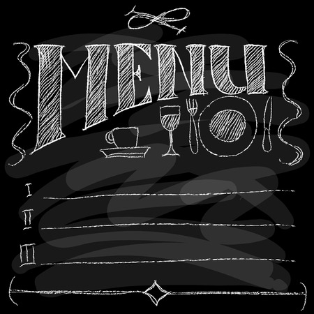 tea breaks: Hand-drawn Menu. Chalk on a blackboard. Vector illustration