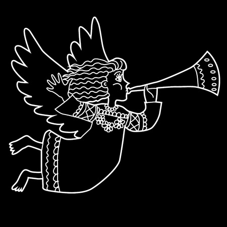glister: Christmas angel with pipe. White on black