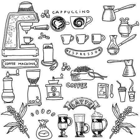 drinking coffee: Coffee hand-drawn set. Vector illustration