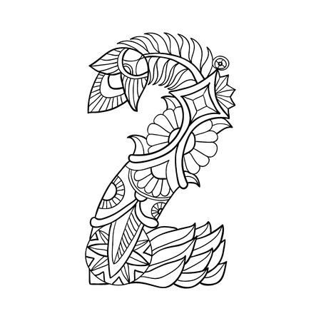 number 2: Number 2. Hand drawn illustration of numerals. Vector illustration