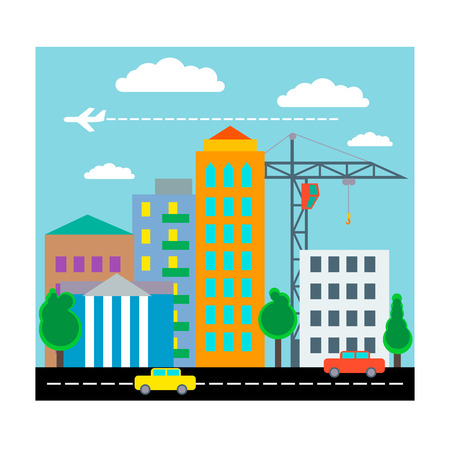 cane collar: City with houses, cars and plane. Flat design.