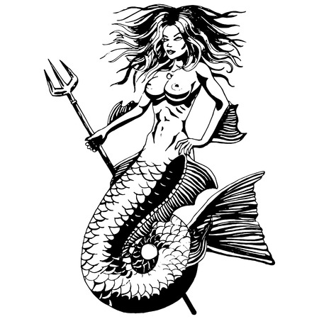 Mermaid - Vintage Zeichnung isoliert.