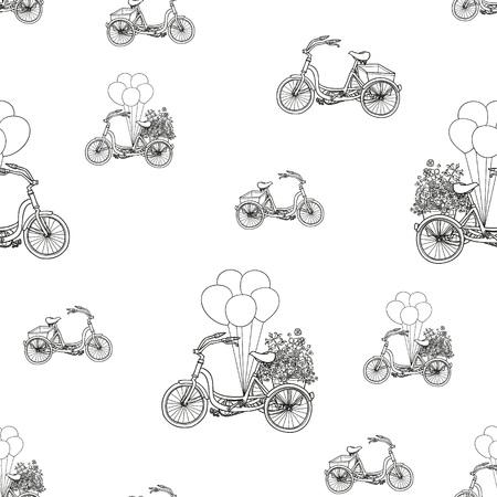handdrawn: hand-drawn bikes pattern background