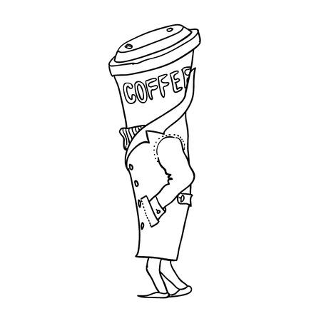 good break: Coffeeman. Cup of coffee isolated