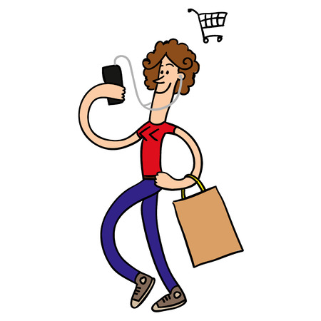 Girl with phone shopping. Vector