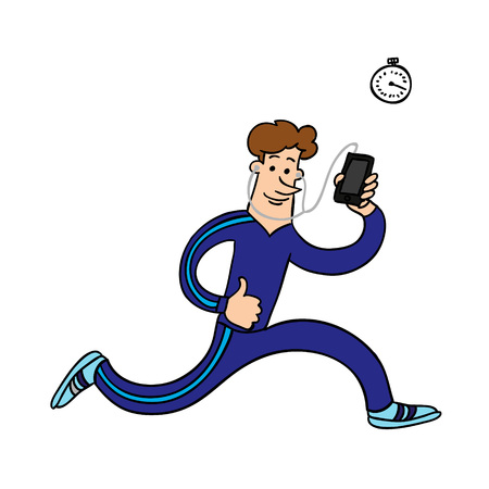 runs: athlete runs with a phone. vector illustration Illustration