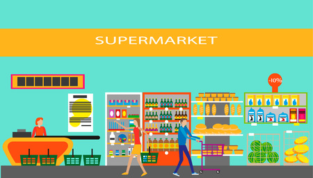 Supermarket in flat style. Vector