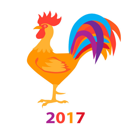 cockscomb: Rooster isolated on white 2017. Vector illustration