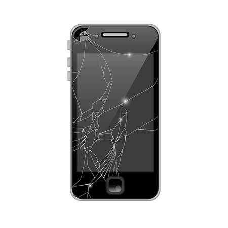 crashed: Smartphone with broken screen isolated on white.