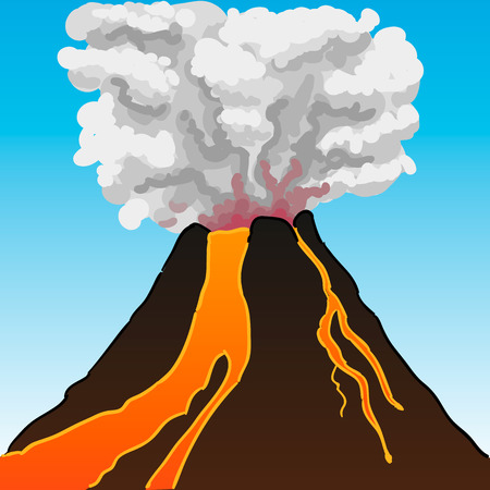 volcano lava: Volcano flowing with lava vector Illustration